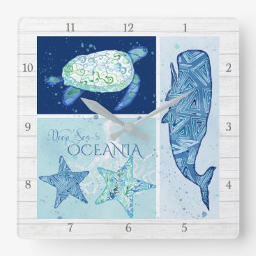Beach Themed Modern Beach Ocean Deep Sea Whale Turtle Octopus Square Wall Clock
