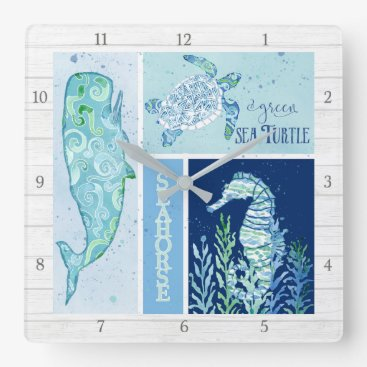 Beach Themed Modern Beach Ocean Geometric Whale Turtle Seahorse Square Wall Clock