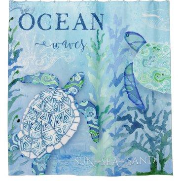 Beach Themed Modern Beach Sea Shore Home Decor Turtle Artwork Shower Curtain
