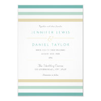 Modern Beach Stripe Wedding Invitation
