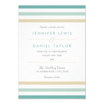 Beach Themed Modern Beach Stripe Wedding Invitation