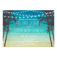 Modern Beach Tropical Palm Tree Wedding Invitation