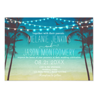 Modern Beach Tropical Palm Tree Wedding Invitation