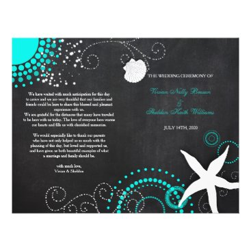 Beach Themed Modern Beach Wedding Celebration Bi Fold Programs Flyer