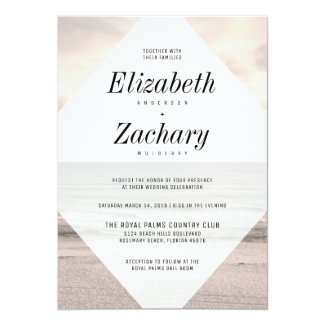 Modern Beach Wedding Diamond Invitation