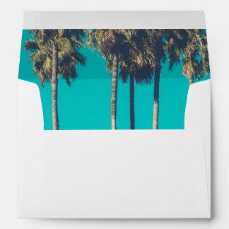 Modern Beach Wedding Envelopes // Blue Palms