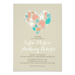 modern beach wedding invitation sea heart 5