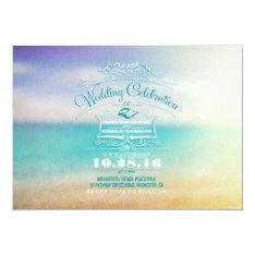 "Modern beach wedding invitation- tropical blue sea 5"" x 7"" invitation card at Zazzle"