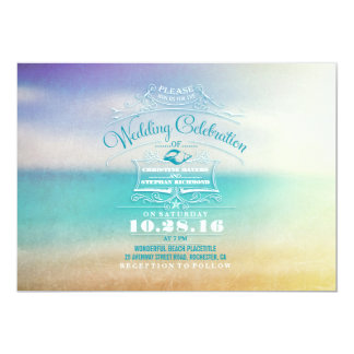 Modern beach wedding invitation- tropical blue sea card