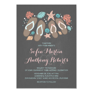 modern beach wedding invitation with flip flops 5