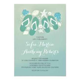 modern beach wedding invitation with flip flops personalized invitations