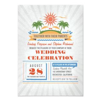 "Modern Beach Wedding Invitations 5"" X 7"" Invitation Card"