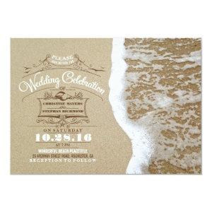 Modern beach wedding invitations -Sea Foam Sand 5