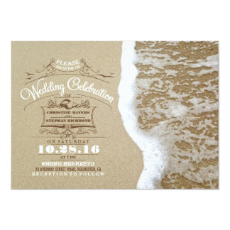 Modern beach wedding invitations -Sea Foam Sand