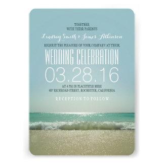 Modern beach wedding invitations with teal sea