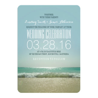 Modern beach wedding invitations with teal sea