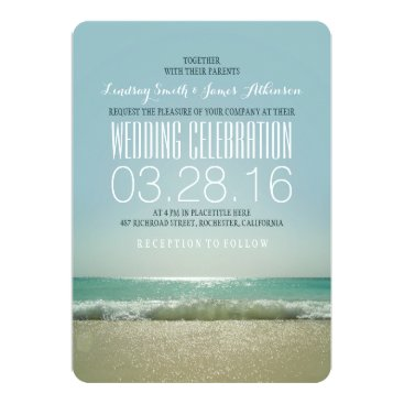 jinaiji Modern beach wedding invitations with teal sea