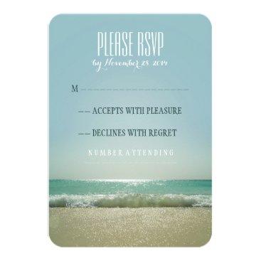 Beach Themed Modern beach wedding RSVP cards with blue sea