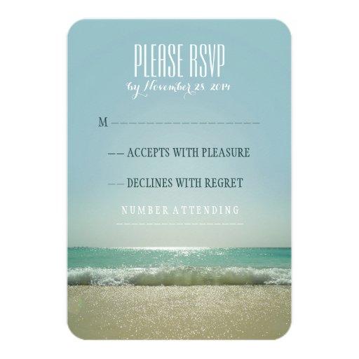 Modern beach wedding RSVP cards with blue sea Invitations