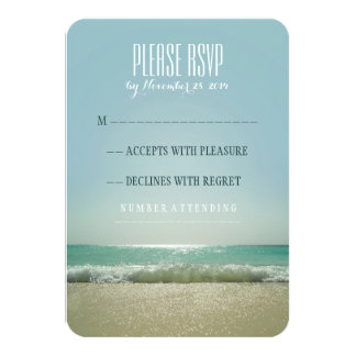 Modern beach wedding RSVP cards with blue sea Invitations
