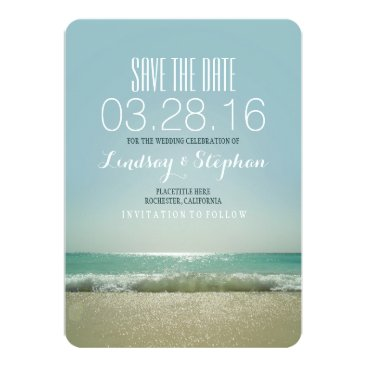 Beach Themed Modern beach wedding save the date cards