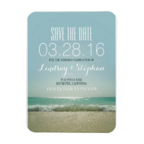 Modern Beach Wedding Save The Date Magnet