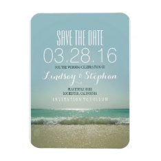 Modern Beach Wedding Save The Date Magnet at Zazzle
