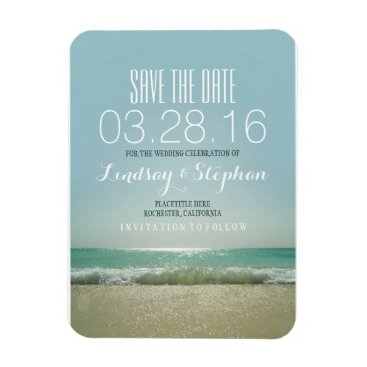 Beach Themed Modern Beach Wedding Save The Date Magnet