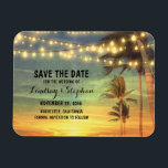 """Modern Beach Wedding Save The Date Magnet<br><div class=""""desc"""">beach save the date magnets with palms and string lights</div>"""