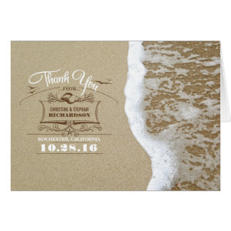 Modern beach wedding thank you cards