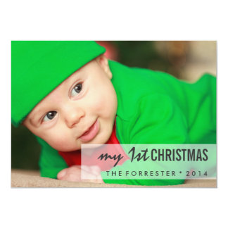 Modern Beautiful First Christmas Baby Photo 5x7 Paper Invitation Card