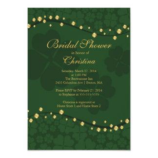 "Modern Beautiful Irish Shamrock Bridal Shower 4.5"" X 6.25"" Invitation Card"