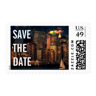 Modern Beautiful New York City Save The Date Postage Stamp