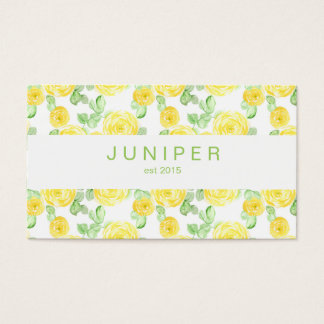 Modern Beautiful Yellow Watercolor Roses pattern Business Card