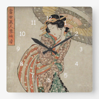 Modern Beauty in a Snowstorm - Kikukawa Eizan Square Wall Clock