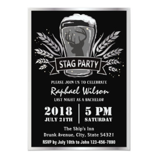 Modern Beer Barley Stag Party/Bachelor Party Card