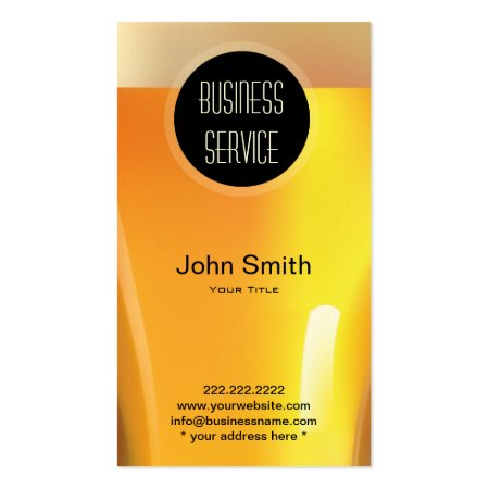Close Up Golden Beer Glass and Froth Pub Business Cards