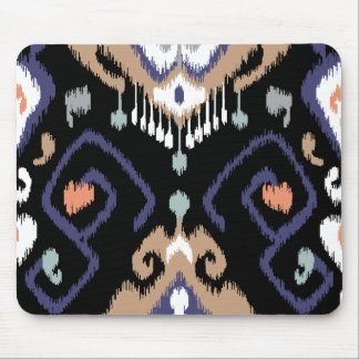 Modern beige black ikat tribal pattern mouse pad