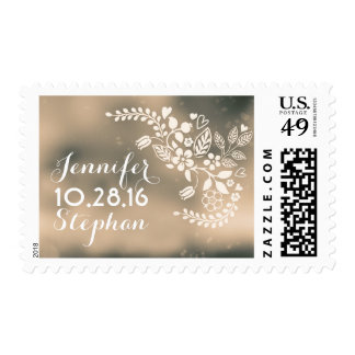 modern beige brown floral hearts postage stamps