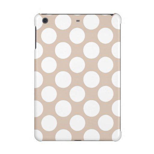 Modern Beige White Polka Dots Pattern iPad Mini Retina Covers