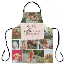 Modern Best chef and grandma photo collage grid Apron