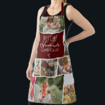 """Modern Best chef grandma photo collage grid red Apron<br><div class=""""desc"""">Modern Best chef and Nana ever,  seasoned with love with 11 photo collage grid,  the  dark red burgundy color and heart are fully editable. Perfect gift for grandma or anyone who loves cooking.</div>"""