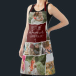 "Modern Best chef grandma photo collage grid red Apron<br><div class=""desc"">Modern Best chef and Nana ever,  seasoned with love with 11 photo collage grid,  the  dark red burgundy color and heart are fully editable. Perfect gift for grandma or anyone who loves cooking.</div>"