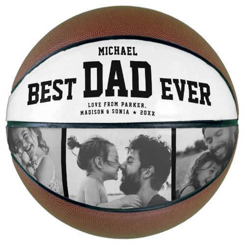 Modern BEST DAD EVER Cool Trendy Photo Collage Basketball