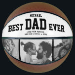 """Modern BEST DAD EVER Cool Trendy Photo Collage Basketball<br><div class=""""desc"""">Perfect for the coolest dad you love: A BEST DAD EVER customized basketball with 3 favorite photos in trendy black and white, his name, and a sweet message from you as well as names and year. Great Father's Day gift or a awesome surprise for his birthday, surely a keepsake he'll...</div>"""