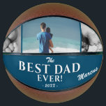 """Modern Best Dad Ever Father`s Day 3 Photo Collage Basketball<br><div class=""""desc"""">Modern Best Dad Ever Father`s Day Basketball with 3 Photo Collage and Name. A perfect gift for a dad or a new dad on Father`s Day. Personalize with three of your photos, dad`s name and the year. You can change any text on the basketball. A great gift to remember and...</div>"""
