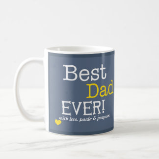 Modern Best Dad Ever Personalized Photo Classic White Coffee Mug