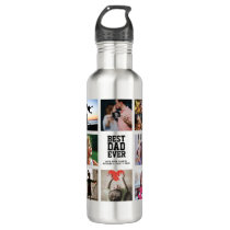 Modern BEST DAD EVER Photo Collage Cool Stainless Steel Water Bottle