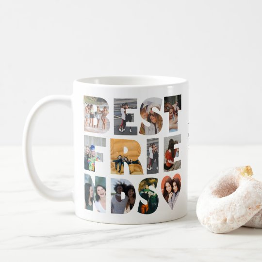 Modern Best Friends 12 Photo Collage BFF Besties Coffee Mug