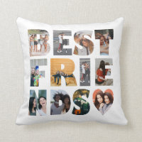 Modern Best Friends 12 Photo Collage BFF Besties Throw Pillow